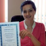 Tarptautinis sertifikatas – Marijampolės kolegijos studentės rankose