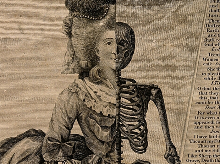 V0007580 The figure of a woman divided in two parts: half skeleton, h Credit: Wellcome Library, London. Wellcome Images images@wellcome.ac.uk http://wellcomeimages.org The figure of a woman divided in two parts: half skeleton, half lady of fashion, standing next to a obelisk inscribed with biblical quotations. Etching, 17--, attributed to V. Green. By: Valentine Greenafter: James HerveyPublished:  -   Copyrighted work available under Creative Commons Attribution only licence CC BY 4.0 http://creativecommons.org/licenses/by/4.0/