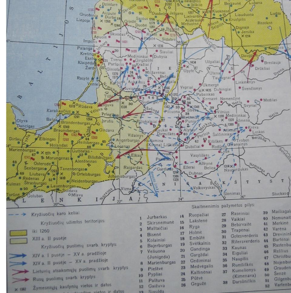 Kryžiuočių agresija XIII–XIV a. (žemėlapyje 37 numeriu pažymėta Kimenavos žemės pagrindinė pilis – dabartinis Kumelionių piliakalnis Marijampolės miesto pietų pusėje).