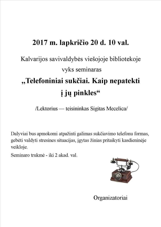 Seminaras @ Kalvarijos viešoji biblioteka