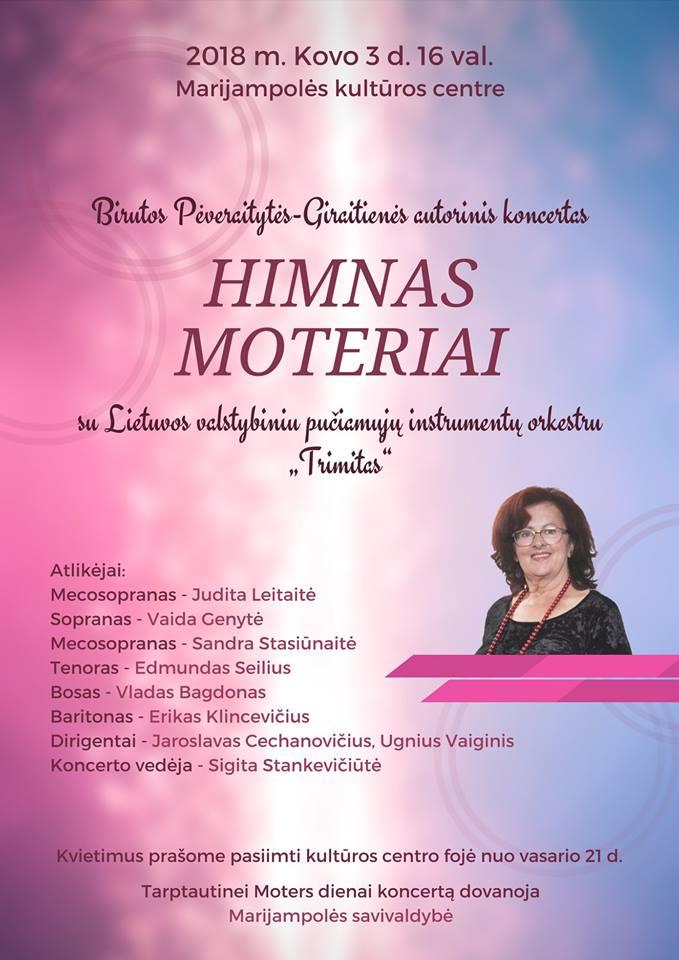 Koncertas HIMNAS MOTERIAI @ Marijampolės kultūros centras