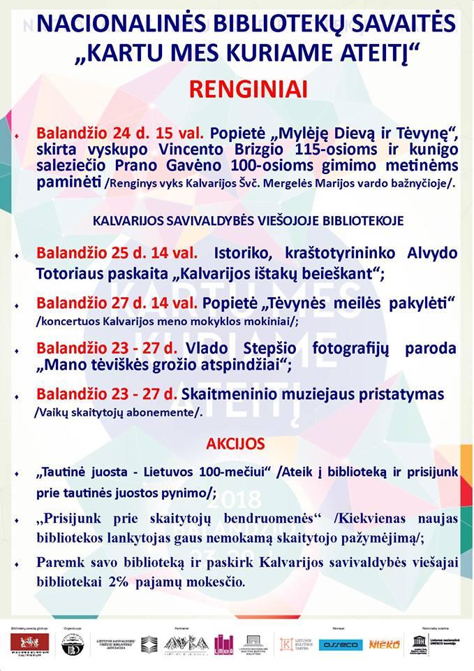 Nacionalinės bibliotekų savaitės renginiai Kalvarijoje @ Kalvarija