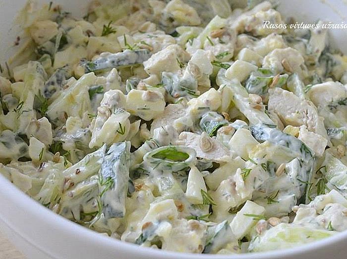 Gaivios salotos su virta vištiena