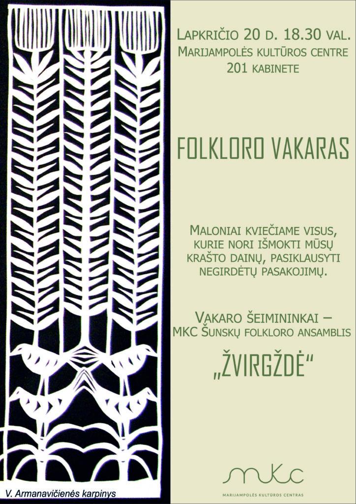 Folkloro vakaras @ Marijampolės kultūros centras