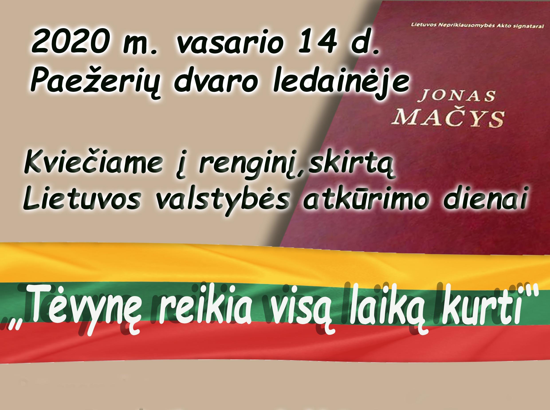Kviečiame į renginį, skirtą Lietuvos valstybės atkūrimo dienai
